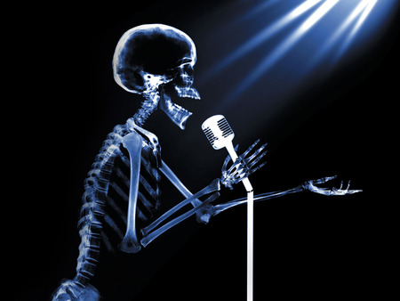 x-ray Stand Up - skull, singing, skeleton, x-ray, microphone