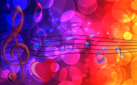 Sweet Valentines Music - valentines, widescreen, bokeh, music, hearts