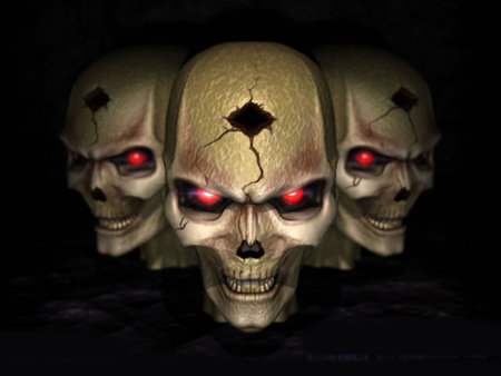 3 Evil Skulls - skulls, 3d, evil, abstract, 3, red eyes