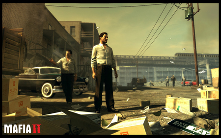 MAFIA II - mafia 2, old, car, people