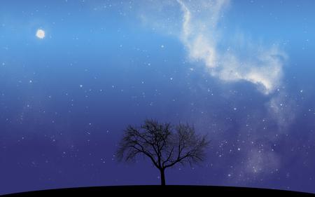 Alone - universe, stars, sky, milky way, galaxy, night, tree, silhouette