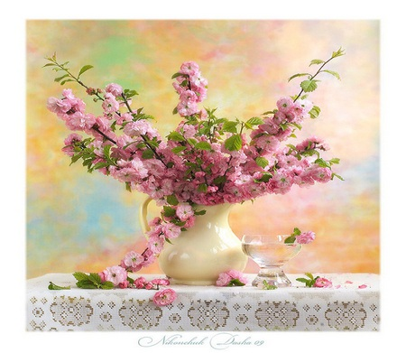 Beautiful - flowers, vase, crystal, petals, tablecloth, white, bowl