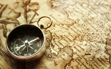 Compass. Map - map, compass, abstract, photography