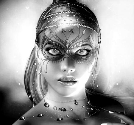 Great Eyes - mystic, woman, white, pretty, black