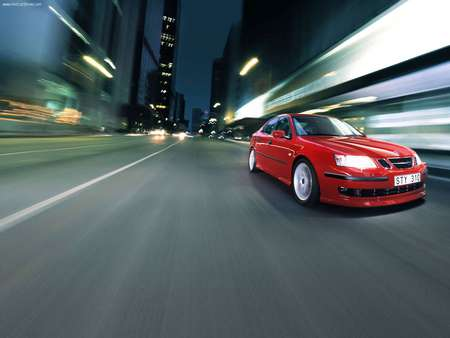 Red Saab 9-3 Sports Sedan - saab, city, red car, saab 9-3, car, blur