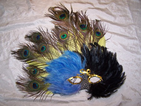 Black and Blue All Over - mardi gras, colorful, feathered, mask