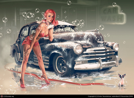 Polishing Up My Baby - soap, lady, hose, car