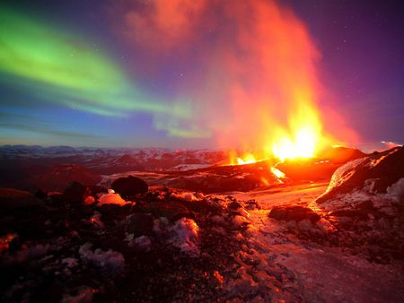Two Eruptions - fire, iceland, aurora, sky, ash, volcano, borealis, nature, earth, lights, night