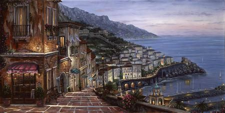 Mediterranian Summer - ocean, town, painting, path, coastal town, coast, plants, sea, mountain, rocks, robert finale, flowers, roofs, mediterranian, steps, water, summer, harbor, houses, sailboats, buildings, bench, art, beach, view, oil painting