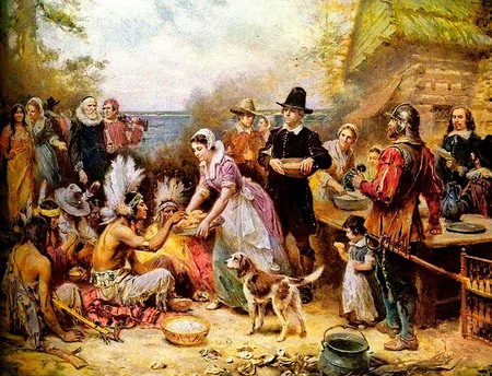 First Thanksgiving - pioneers, thanksgiving, friendship, indians