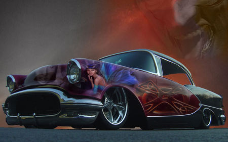 a very sweet 56 - airbrush, art, olds, 1956, pimped