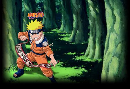 Naruto In A Forest - kid, forest, naruto, scroll