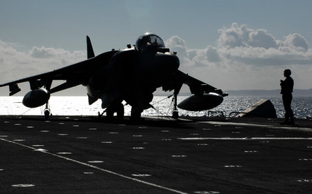 Secured - aircraft, carrier, based, harrier