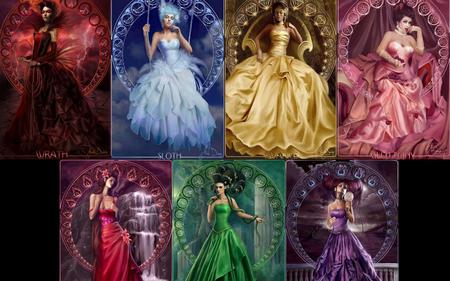 seven sins are deadly - red, punish, sins, die, colors, yellow, collage, woman, green, purple, seven, pink, deadly, blue