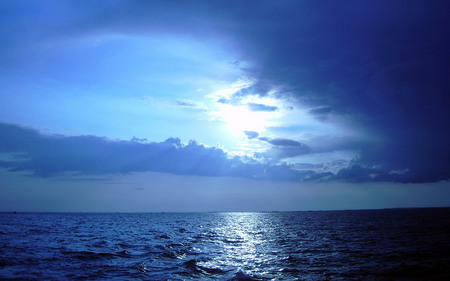Summer Solstice - reflection, blue, ocean, clouds, nature, twilight