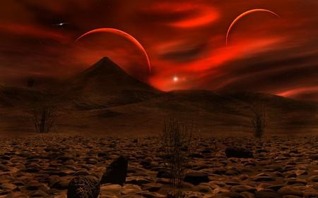 STRANGE WORLD - world, sky, moons, red, strange