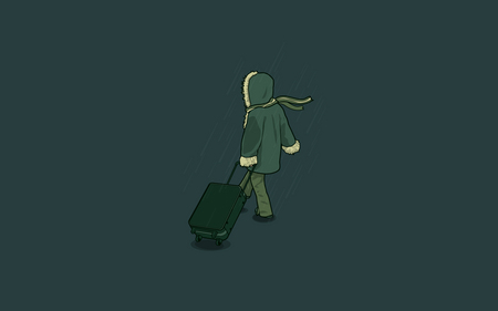 Go to Home - alone, journey, bag, simple, rain, winter