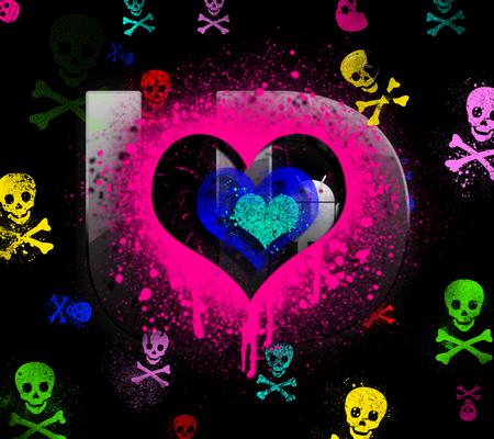 Skulls n Heart Hearts And Skulls Wallpaper