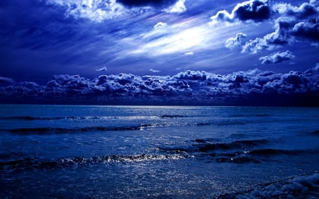 Blue Sea - amazing, ocean, beautiful, waves, sky, clouds, sea, peaceful, nature, blue, night
