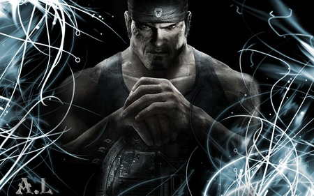 Marcus Fenix In With Lights - gears of war 3, games, jt, cool, 3d, new, linkin park, entertainment, cog, iphon 4, fire, red, dom, video games, best, gow 3, avatar, marcus finix, angels