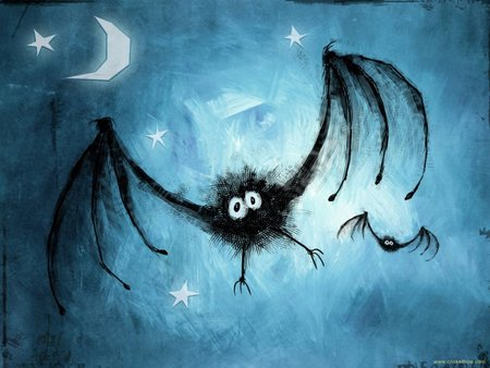 Gisbat - stars, bat, cartoon, funny, Halloween