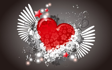 Abstract Heart - valentines, wings, red heart, valentines day, heart