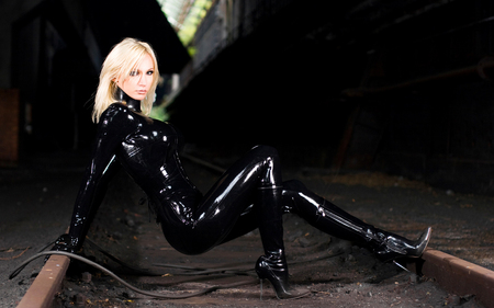 blond on tracks - female, blond, model, boots, traintracks, woman, heels, shiney, sexy, latex, vynyl