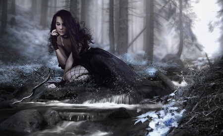 My thoughts - forest, fantasy, woman, river
