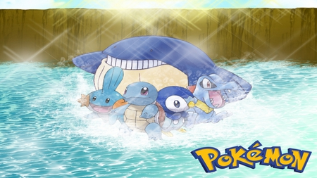 Pokemon - wailmer, mudkip, piplup, pokemon, squirtle, totodile