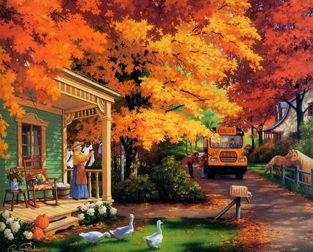 School Bus - autumn, flowers, road, painting, pumpkins, gold, trees, fall, bus, horses, house, school bus, art, ducks