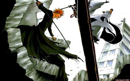 Ichigo vs Aizen - bankai, gin, kurosaki, town, sky, shinigami, orange hair, kamane, ichigo, city, aizen, bleach, fight