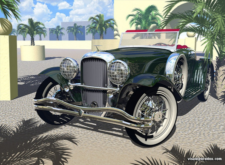 Classic - chrone, headlights, car, old, palm trees, vintage, tyres, wheels