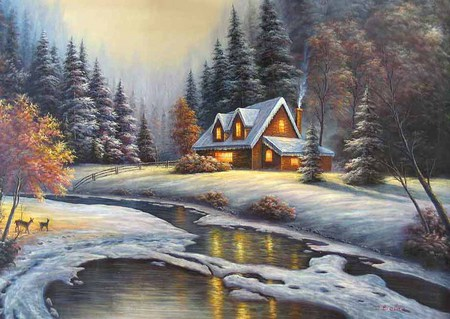 Winter Wonder - cold, deer, stream, creek, snow, cosy, winter, lights, cottage, pioneers, pines