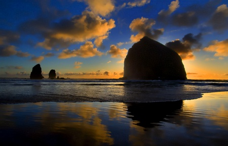 Blue Reflections on Cannon Beach - beach, oregon, ocean, blues, reflection, cannon