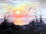 Ocean sunrise by Bob Ross