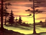 Evergreens at sunset by Bob Ross