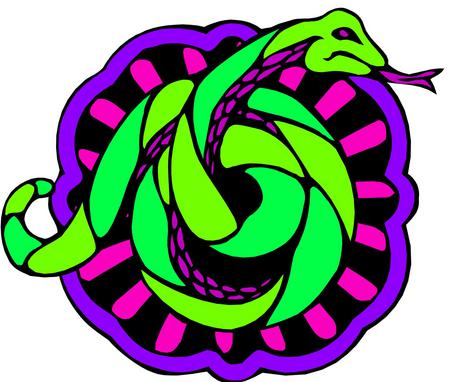 Snake - purple outline, green snake, coiled, pink stripes
