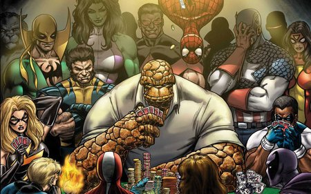 Marvel Superheroes Playing Poker Funny Entertainment