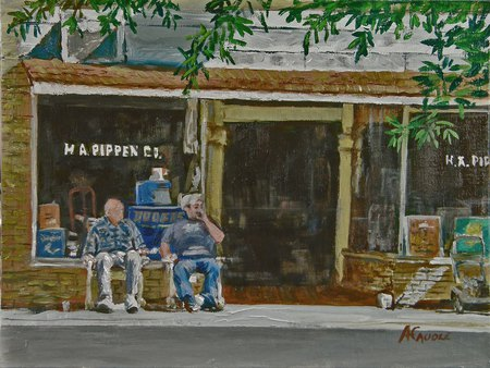 Swapping The News - seniors, town, chairs, store, gossip, barber shop