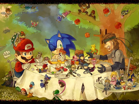 tea time - videogame, mario, link, princess peach, video game, pokemon, women, diddy kong, sega, sonic, nintendo, female, donkey kong, girl, fox, zelda, pit, kirby, snake