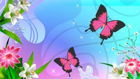 Adoring Pink Butterflies - flowers, butterfly, firefox persona, widescreen, butterflies, summer, pastels