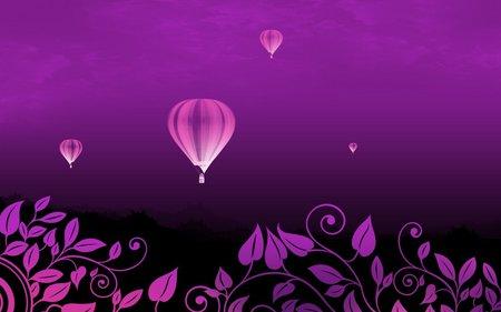 Hot air balloon - air, purple, balloon, flower