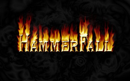 HammerFall - metal, hammerfall, flames, music, band, flame text, power metal, hammer