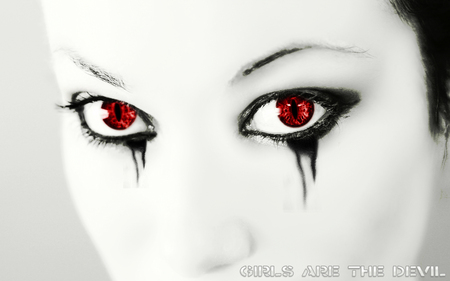 Girls are the Devil - goth, red, girl, cg, face, eyes, vector