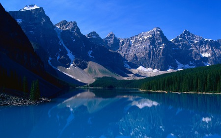 Lake Reflections - forest, slides, rock, alpine, skies, water, beaches, snow, mpuntains, beauty, gravel, natural, blue