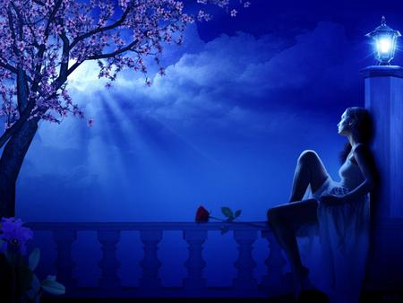 Night - missing, thinking, blue, tree, 3d, fantasy, rose, girl, moon, night, art, love