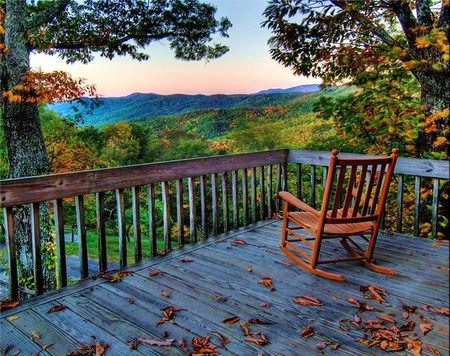 The wonder - leaves, mountains, railing, chair, country, trees, clouds, deck