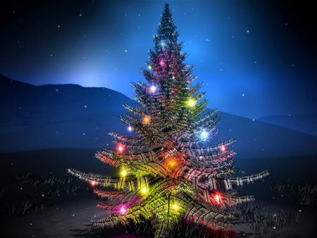 Mountain Christmas Tree.Blue Christmas Tree 3d And Cg Abstract Background