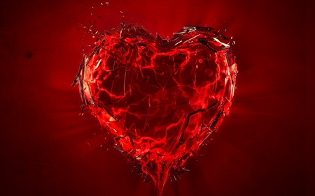 shattered heart - red, broken, love, heart, blood