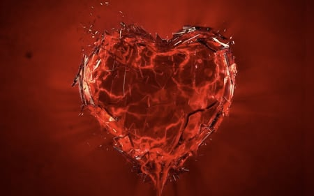 shattered heart - blood, broken, heart, red, love